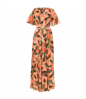"Long dress with a striking papaya print by Lena Hoschek ""Sunset Dress papaya sorbet"""