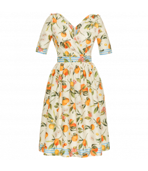 "Orange print fit-and-flare dress with wrap-over top and shoulder epaulettes ""Susanna Dress orangerie"""