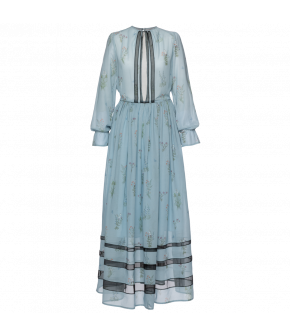 "Blue long-sleeved Lena Hoschek dress ""Titania"" - SS20 - Season of the Witch - Summer collection 2020"