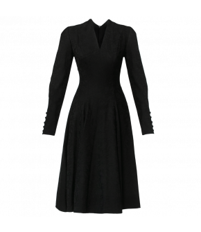 Elegant long-sleeved dress with a V-neckline and flared skirt. Featuring fabric covered button detailing along the sleeve slits. Fastens at the side with a zip. Belt available separately. Fully lined.