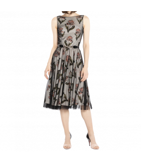 Knee-length tulle dress with figure-hugging top and flared skirt featuring exclusive print from Lena Hoschek