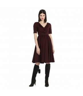 "Halfsleeve V-neck dress with pleated front by Lena Hoschek ""Yves Dress merlot"""