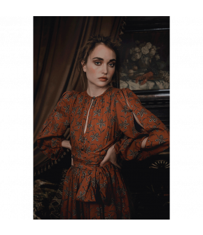 """Zulejka dress terracotta"" by Lena Hoschek - Artisan Partisan - Autumn/winter collection AW20/21"