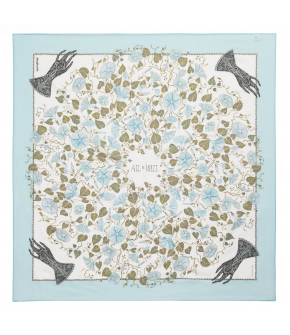"Lena Hoschek Foulard ""Moonflower"" in blue, size 90x90cm - SS20 - Season of the witch"