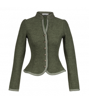 Traditional cropped jacket made from wool with braid trim. With an elegant stand-up collar and slightly puffed sleeves, this button-front jacket is fitted through the body and has a peplum-hem, which highlights the waist.