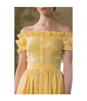 Frou Frou Dress soleil in yellow by Lena Hoschek - SS21 summer collection - Antoinette's Garden
