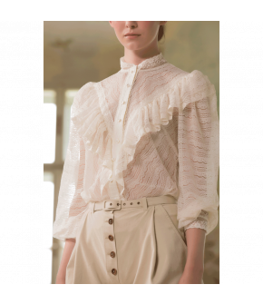 "White blouse ""Gabrielle"" by Lena Hoschek - SS21 summer collection - Antoinette's Garden"