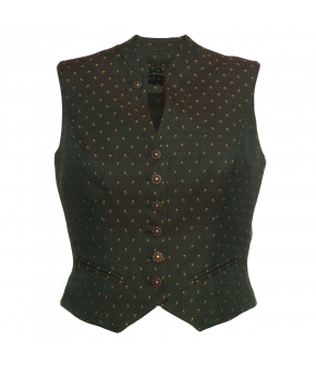 Fitted waistcoat with tiny rose pattern. Made of wool and silk, the waistcoat has a stand-up collar and piped-edge slash pockets. Fully lined.