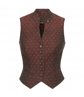 Fitted waistcoat with tiny pattern. Made of wool and silk, the waistcoat has a stand-up collar and piped-edge slash pockets. Fully lined.