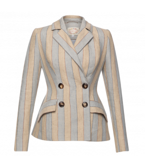 Équipe Jacket club in blue and beige stripes by Lena Hoschek - SS21 summer collection - Antoinette's Garden