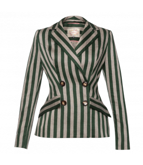Équipe Jacket parc in grey and green stripes by Lena Hoschek - SS21 summer collection - Antoinette's Garden