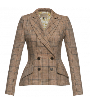 Fitted, doublebreasted checked linen jacket with pointed lapel collar and flap pockets at the front. Made from beige fabric with a subtle grey check, the jacket is lined with Liberty print fabric.