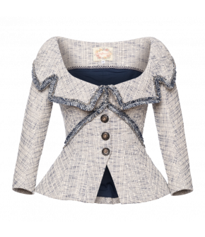 Pompadour Jacket in white and blue by Lena Hoschek - SS21 summer collection - Antoinette's Garden