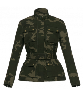 Fitted biker jacket by Lena Hoschek made from classic camouflage fabric with a Liberty print lining - Autumn/Winter 2019 20 - Men At Work