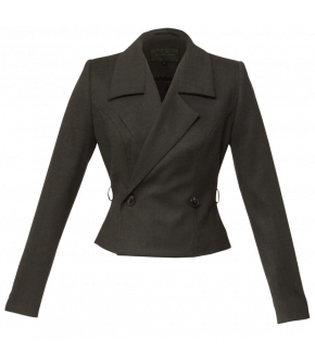 Short, fitted double-breasted blazer. Featuring a narrow, fabric-covered belt that highlights the waist. The belt conceals the front buttons when it is fastened. Lined.