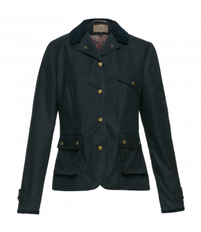 Classic waxed cotton jacket in navy blue with a fitted silhouette and press-stud fastening. Featuring a needlecord collar, back slits and spacious bellow pockets. Fully lined.