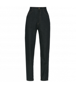 Highwaisted slimfit jeans with decorative top stitching. A classic 5pocket style with slim fitting legs and a touch of stretch for comfort and fit.