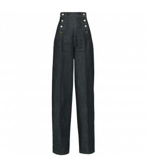Wide-legged denim version of the iconic style made famous by Marlene Dietrich. Featuring a double-buttoned front and an adjustable strap at the back of the waist. With decorative top stitching and metal fastenings.
