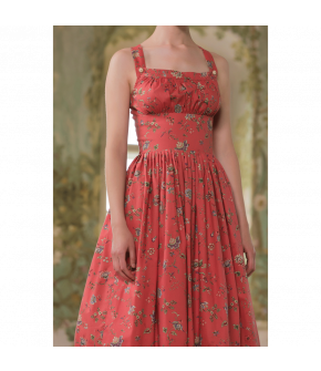 Judith Dirndl in red with green apron - SS21 summer collection - Lena Hoschek Tradition