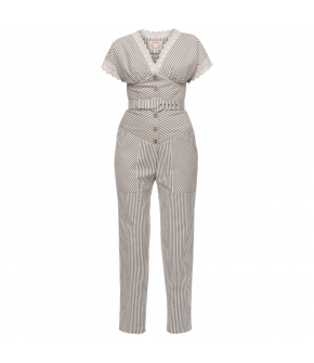 Striped Concorde Jumpsuit in grey and ivory by Lena Hoschek - SS21 summer collection - Antoinette's Garden