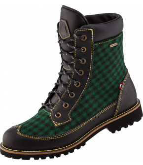 A shoe made of loden, a natural functional material that also clearly shows the alpine heritage. So Käthe GTX impresses in traditional gray with brown leather and in dark green Rosegger check pattern with black leather. Like all Dachstein shoes, this shoe