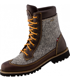 A shoe made of loden, a natural functional material that also clearly shows the alpine heritage. So Käthe GTX impresses in traditional grey with brown leather and in dark green Rosegger check pattern with black leather. Like all Dachstein shoes, this shoe
