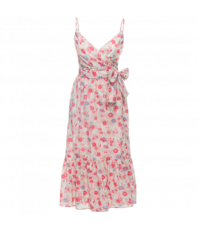 "Lena Hoschek Dress ""Adél"" in white with pink flower pattern - Kiss Me Piroschka - Spring / Summer 2018"