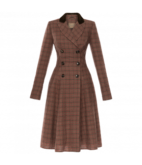 Woollen doublebreasted coat-dress with a peak lapel collar and a wide swinging skirt. Featuring buttoned sleeveslits and a contrasting dark velvet top collar.