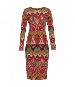 "Fitted pencil dress with red and yellow Western pattern by Lena Hoschek ""Artisan"""