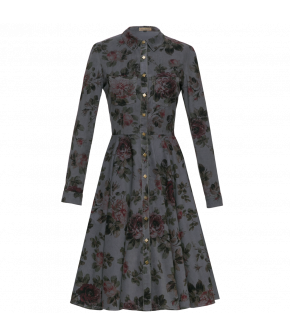 Fitted shirt-dress made from needlecord with a beautiful nostalgic rose print in muted shades. Featuring decorative top stitching and hidden side-seam pockets. Button-through front.