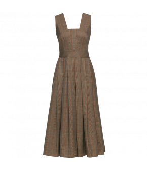Sleeveless dress in a neutral checked fabric featuring a fitted waistband, a full pleated skirt and a deep V-neckline. The skirt has hidden side-seam pockets and fastens at the back with a button and a zip.