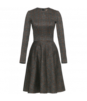 Classic longsleeved Fit-and-flare dress made from a jacquard fabric with a subtle check pattern. This simple style with a fitted top and a full skirt features hidden side-seam pockets and fastens at the back with a zip.