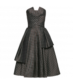 Fitted bustier dress with a full, flared skirt with decorative layers and pleated details. With a notched neckline and flattering pleated details at the bust, this beautiful dress is made from a striking jacquard fabric!
