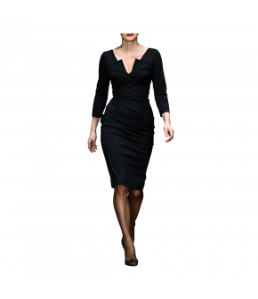 "Dark blue pencil dress with notched neckline by Lena Hoschek ""Credit"""