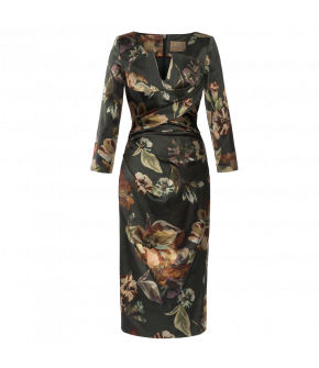 "Floral print pencil dress with notched neckline by Lena Hoschek ""Credit Dress harvest"""