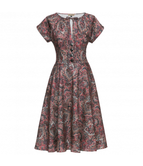 Paisley patterned dress with short sleeves and a halfcircle skirt. Featuring overcut shoulders and a gathered drawstring neckline with a slit at the front and buttons down the centre to the waistband. Fastens at the side with a zip.