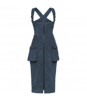 Tightfitting dungaree dress made from cord in a washedout denim shade featuring workwear details like large patch pockets, buckles, belt loops and a zipthrough front with a deep rounded neckline.