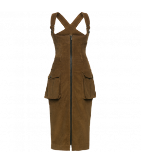 Figurehugging sleeveless cord dress with a deep rounded neckline and workwear details like decorative topstitching, belt loops and large patch pockets at the hips. Zipthrough front fastening. The belt is available from DUKES Finest Artisan.