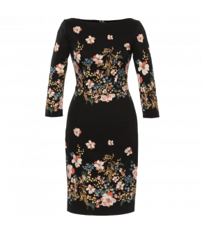 Figurehugging pencil dress in black with contrasting floral pattern. Featuring 3/4-length sleeves and a straight slashed neckline. Walking slit and zip fastening at the back. Fully lined.