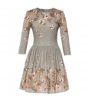 "Short skater Lena Hoschek dress ""Florentine"" in light blue with floral details - Autumn Winter 19-20 - Men At Work"