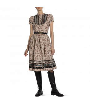 "Knee-length short-sleeved ""Gretl"" dress from Lena Hoschek with metal buttons - autumn/winter collection AW20/21"