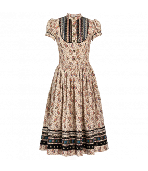 """Knee-length short-sleeved """"Gretl"""" dress from Lena Hoschek with metal buttons - autumn/winter collection AW20/21"""