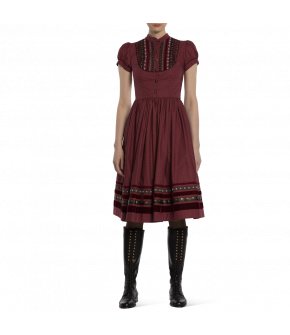 "Puff sleeve dress ""Gretl"" from Lena Hoschek Tradition with velvet ribbons - autumn/winter collection AW20/21 - Artisan Partisan"