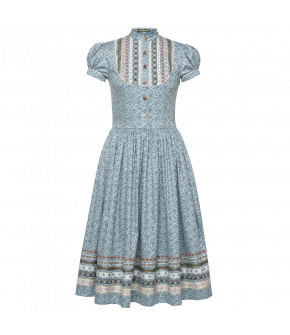 Gretl Dress Sommerregen in blue with flowers - SS21 summer collection - Lena Hoschek Tradition