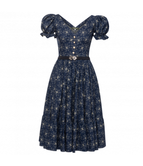 Hannelore Dress Sternschnupperl in dark blue- SS21 summer collection - Lena Hoschek Tradition