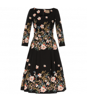 Classic Fit-and-flare dress with 3/4-length sleeves and a wide rounded neckline. Featuring a full, flared skirt with hidden side pockets and made from a black material with contrasting floral print details. Back zip fastening. Fully lined.