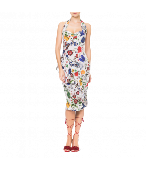 """Figure-hugging halter-neck dress by Lena Hoschek """"Helena"""" from the summer 2018 collection."""
