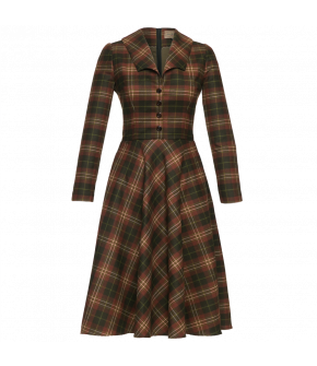 Tartan woollen dress with a large collar, buttons down to the waist and a full flared skirt with concealed side pockets. Fully lined with a back zip fastening.