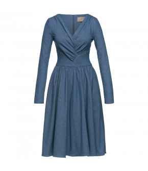 Light blue jersey dress with long sleeves and a fitted top with a V-neckline and crossover pleated detailing. Featuring a fitted waistline and a full, gathered skirt with hidden side-seam pockets. Back zip fastening.