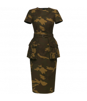 Camouflage print wiggle dress with short sleeves and detachable peplum with hanging patch pockets. Comes with a matching fabriccovered buckled waist belt. Back zip fastening.